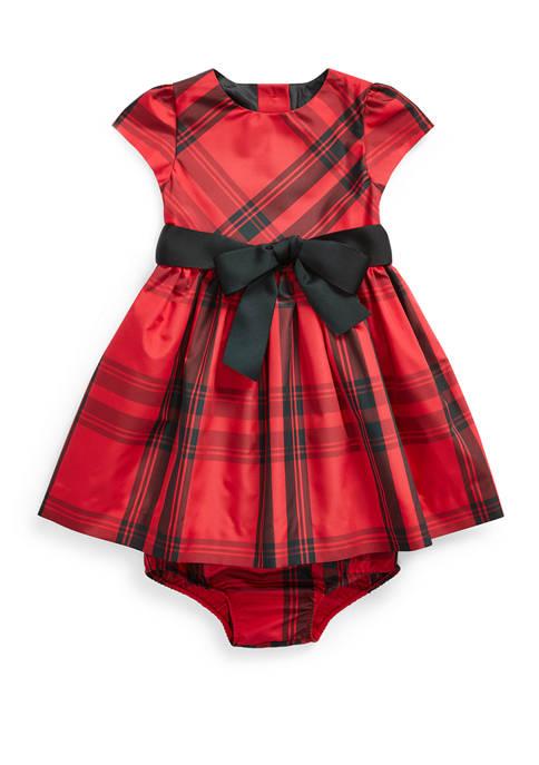 Baby Girls Plaid Taffeta Dress & Bloomer