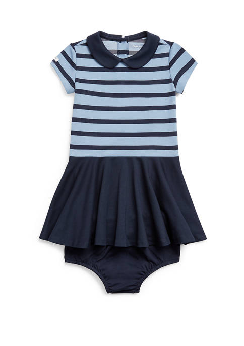 Baby Girls Striped Ponte Dress and Bloomer