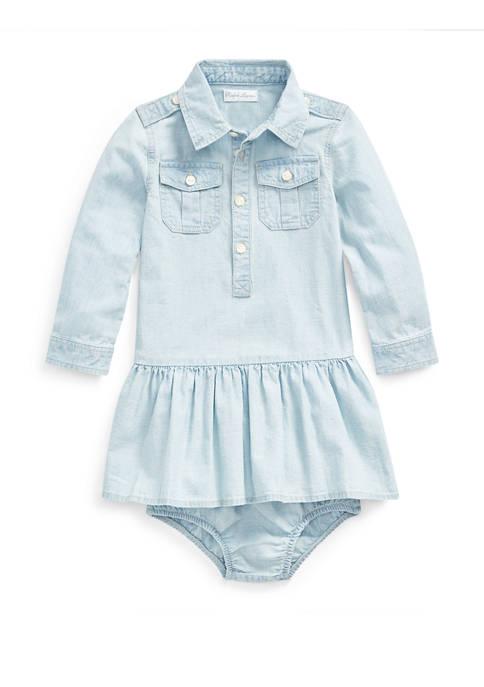 Ralph Lauren Childrenswear Baby Girls Chambray Dress and