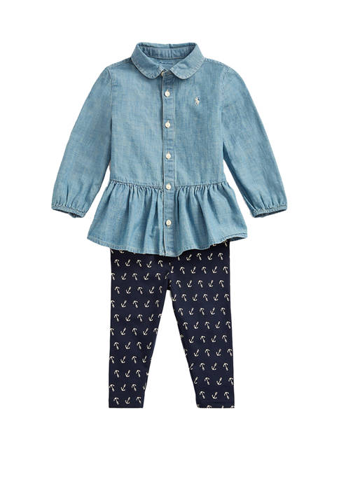 Ralph Lauren Childrenswear Baby Girls Chambray Top &