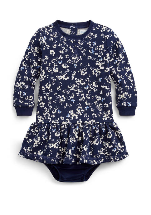 Baby Girls Floral Cotton Dress and Bloomer Set