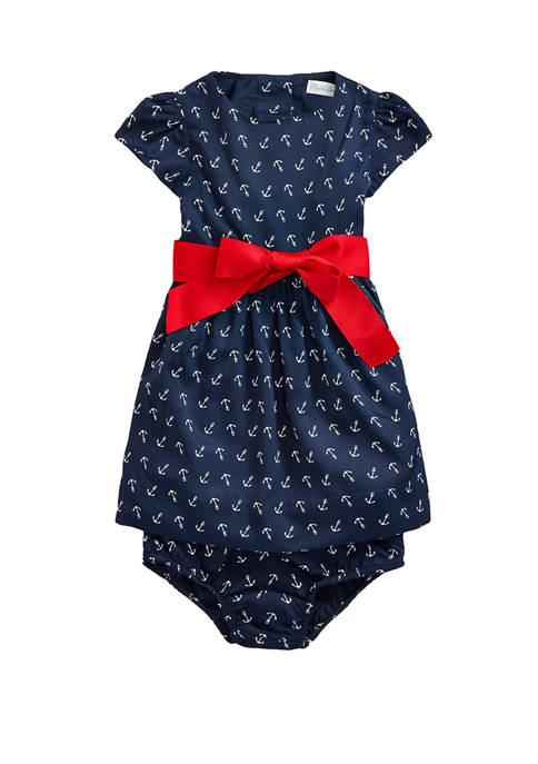 Ralph Lauren Childrenswear Baby Girls Anchor-Print Dress &