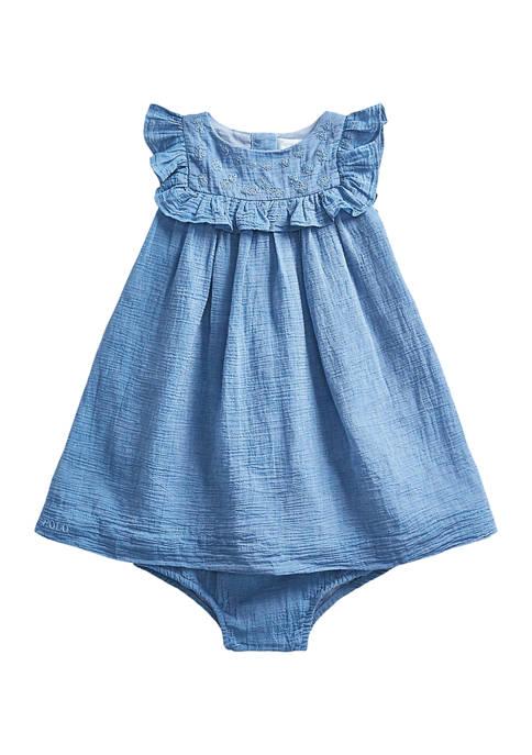 Ralph Lauren Childrenswear Baby Girls Flutter-Sleeve Dress &