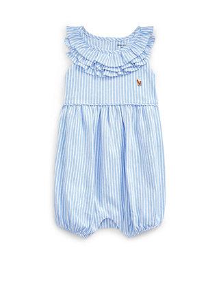 Ralph Lauren Baby Girls Ruffled Plaid Cotton Shortall