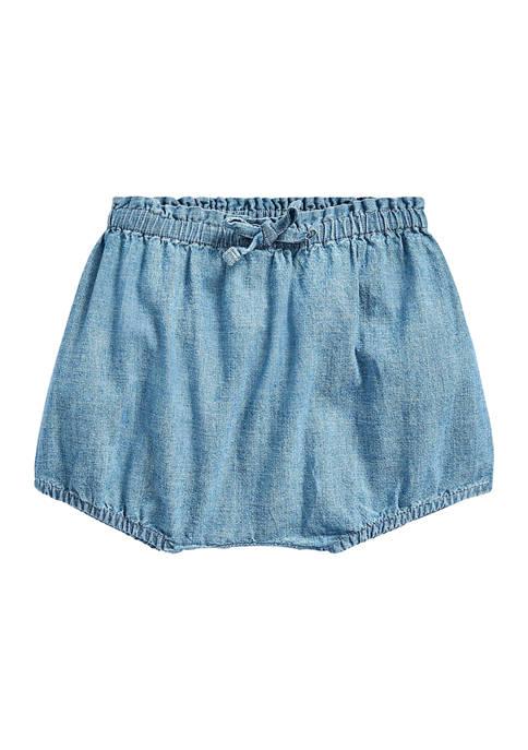 Ralph Lauren Childrenswear Baby Girls Chambray Bloomer Short