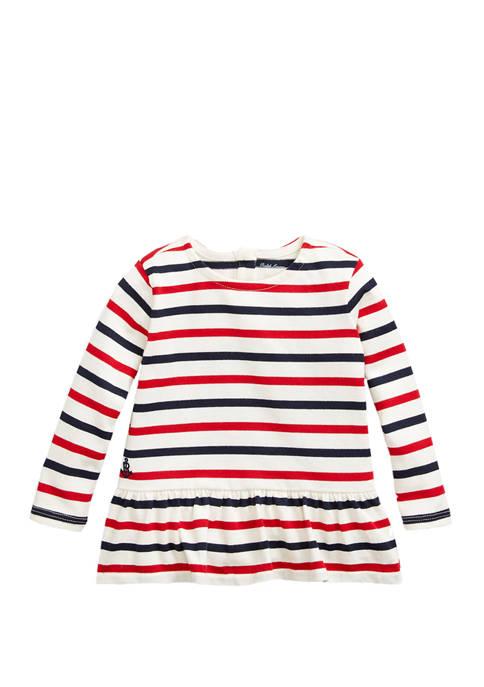Ralph Lauren Childrenswear Baby Girls Striped Peplum Jersey