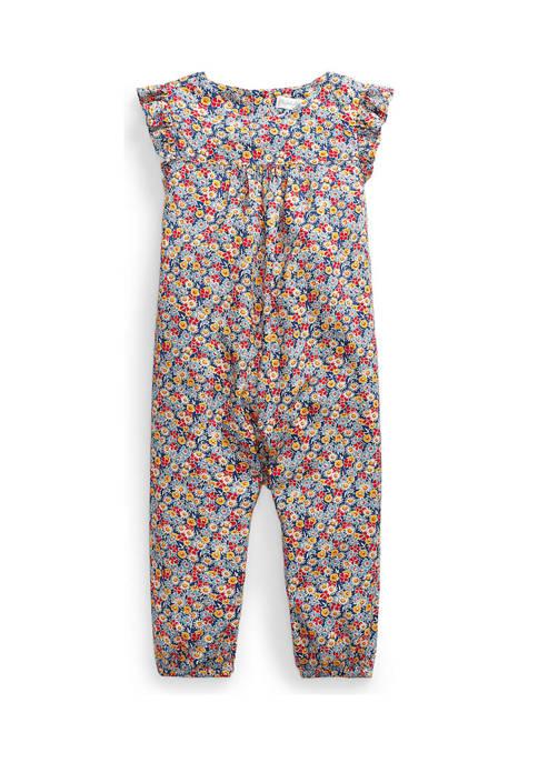 Baby Girls Floral Flutter-Sleeve Romper