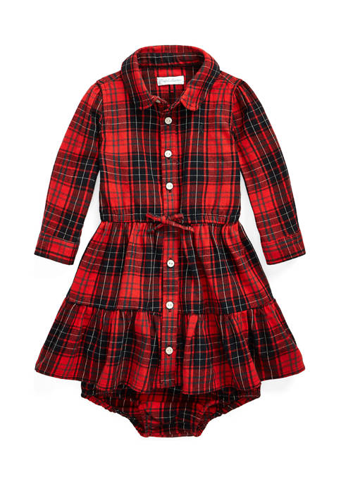 Baby Girls Plaid Shirtdress and Bloomer Set