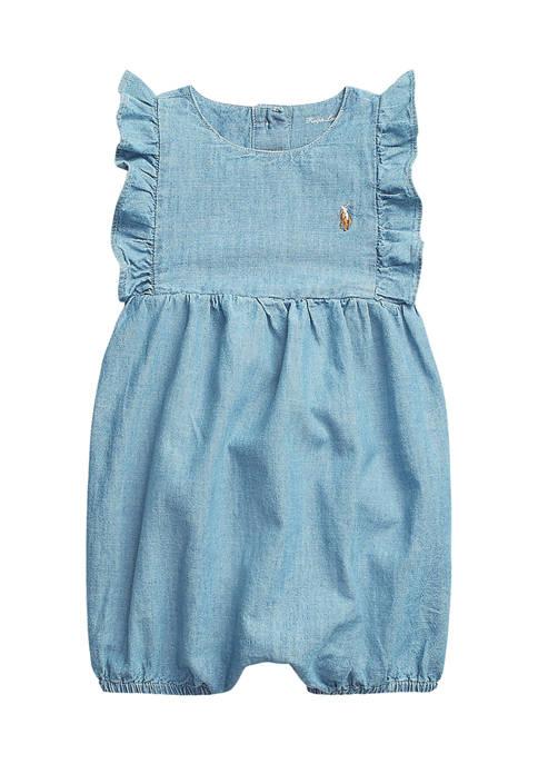 Ralph Lauren Childrenswear Baby Girls Cotton Chambray Bubble