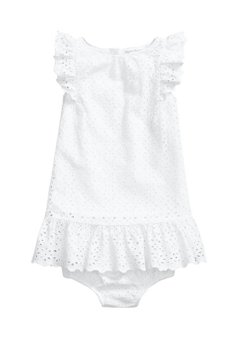 Ralph Lauren Childrenswear Baby Girls Ruffled Eyelet Dress