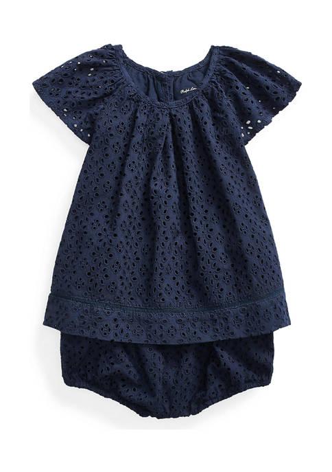Ralph Lauren Childrenswear Baby Girls Eyelet Top &