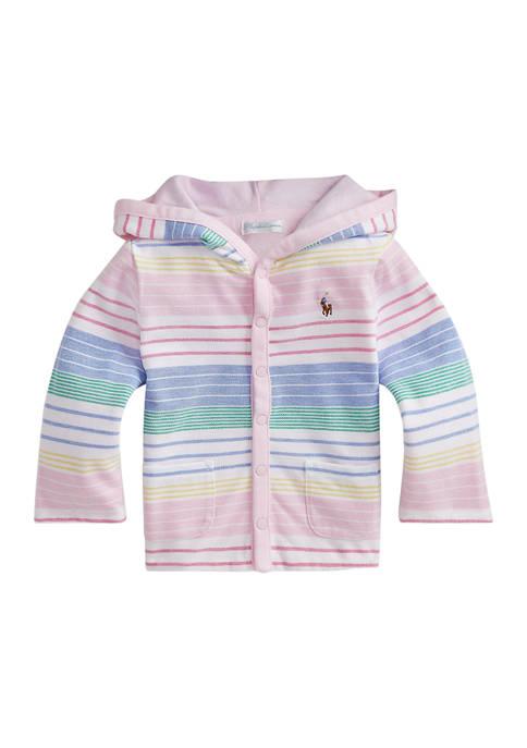 Ralph Lauren Childrenswear Baby Girls Striped Cotton Hooded