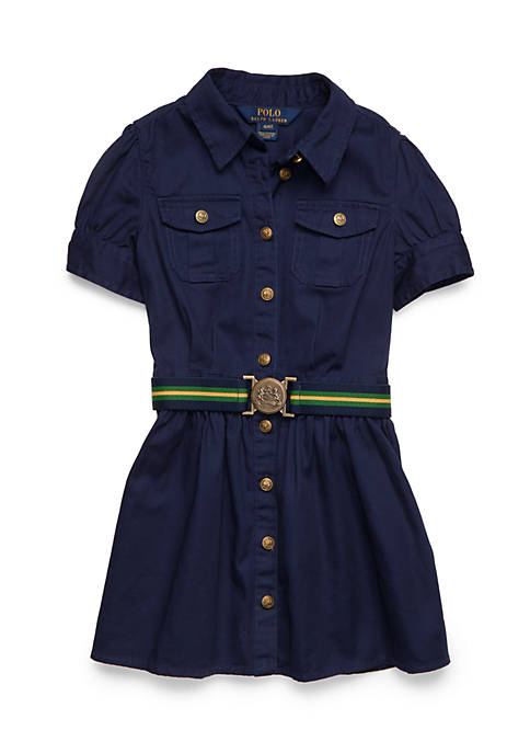 Ralph Lauren Childrenswear Cotton Chino Belted Shirtdress Toddler