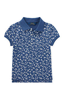 Toddler Girls Floral Polo Shirt