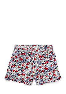 Toddler Girls Floral Ruffled Challis Shorts