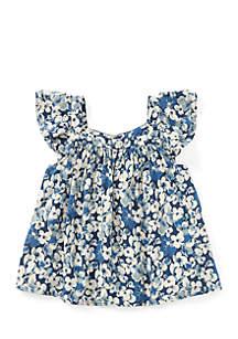 Girls Toddler Floral Flutter-Sleeve Top