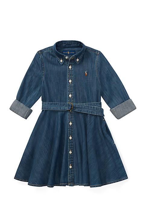 Toddler Girls Belted Cotton Denim Shirtdress