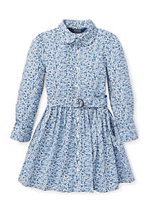 Toddler Girls Floral Cotton Shirtdress