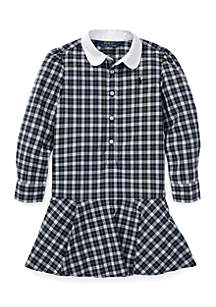 Toddler Girls Plaid Cotton Poplin Shirtdress