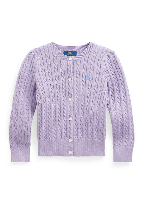Toddler Girl Cable-Knit Cotton Cardigan