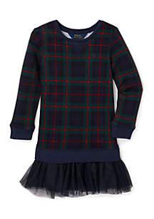 Toddler Girls Printed Tulle-Terry Dress