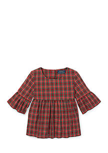 Toddler Girls Tartan Bell-Sleeve Top