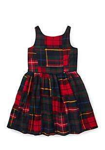 Toddler Girls Tartan Patchwork Cotton Dress