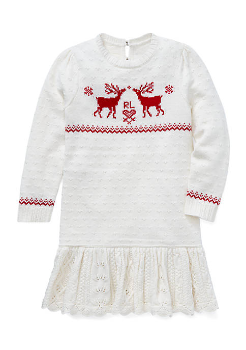 Toddler Girls Reindeer Sweater Dress