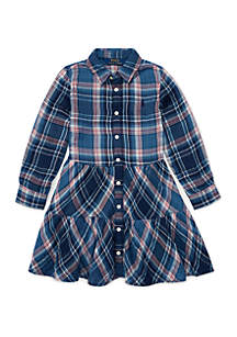 Toddler Girls Tiered Plaid Cotton Shirtdress