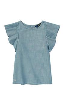 Toddler Girls Chambray Flutter-Sleeve Top