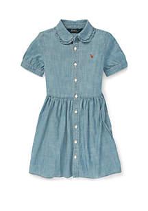 Toddler Girls Ruffled Chambray Dress