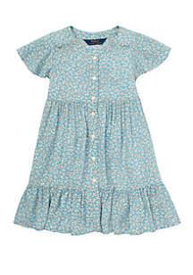 Toddler Girls Shirred Floral Dress