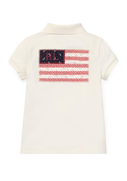 Ralph Lauren Childrenswear Toddler Girls Flag Stretch Mesh