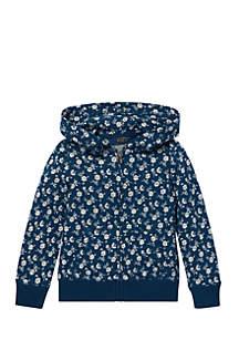 Toddler Girls Floral-Print Cotton Hoodie