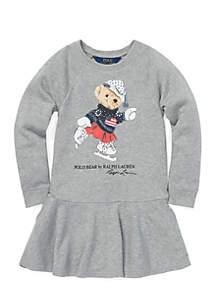 Toddler Girls Ice Skating Bear Dress