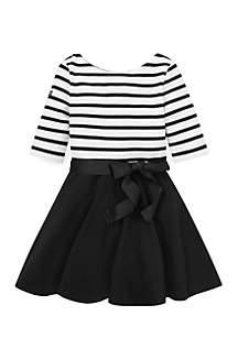 Toddler Girls Striped Jersey Ponte Dress