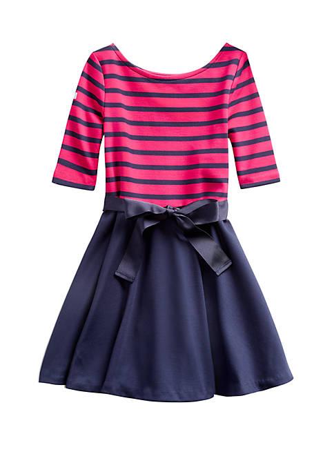 Toddler Girls Striped Ponte Dress