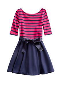 Ralph Lauren Childrenswear Toddler Girls Striped Ponte Dress