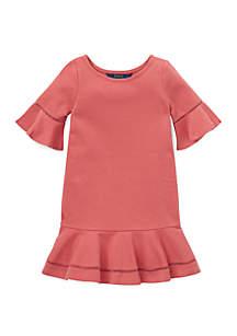 Toddler Girls Ponte Inset-Lace Dress