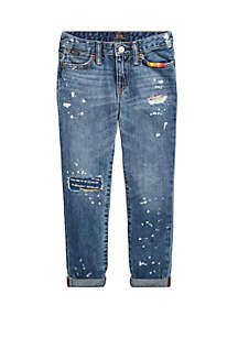 Ralph Lauren Childrenswear Toddler Girls Distressed Slim Boyfriend Jeans
