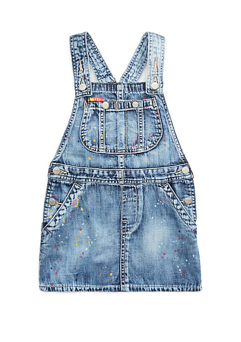 Ralph Lauren Childrenswear Toddler Girls Cotton Overall Denim
