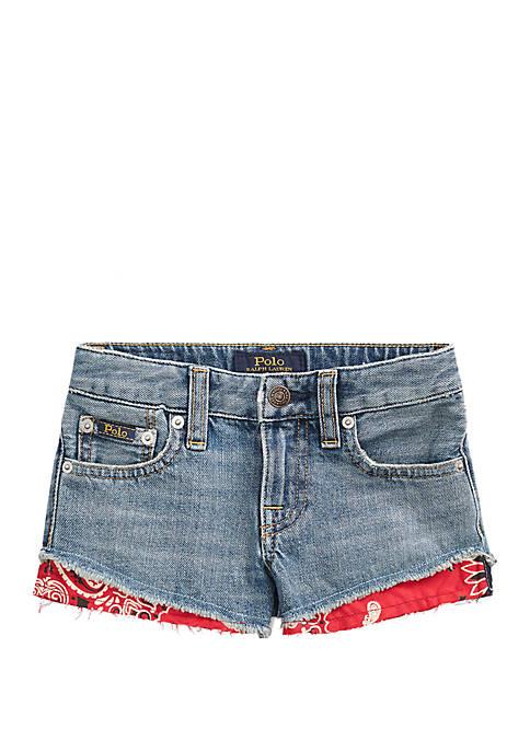 Toddler Girls Bandanna Trim Denim Shorts
