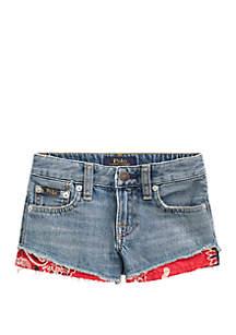 Ralph Lauren Childrenswear Toddler Girls Bandanna Trim Denim Shorts