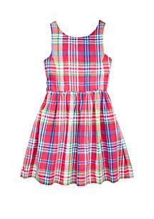 Ralph Lauren Childrenswear Toddler Girls Madras Plaid Cotton Dress