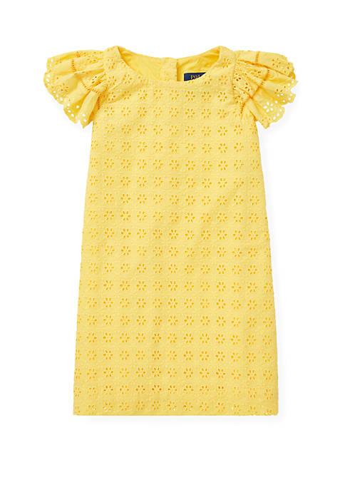 Ralph Lauren Childrenswear Toddler Girls Eyelet Woven Dress