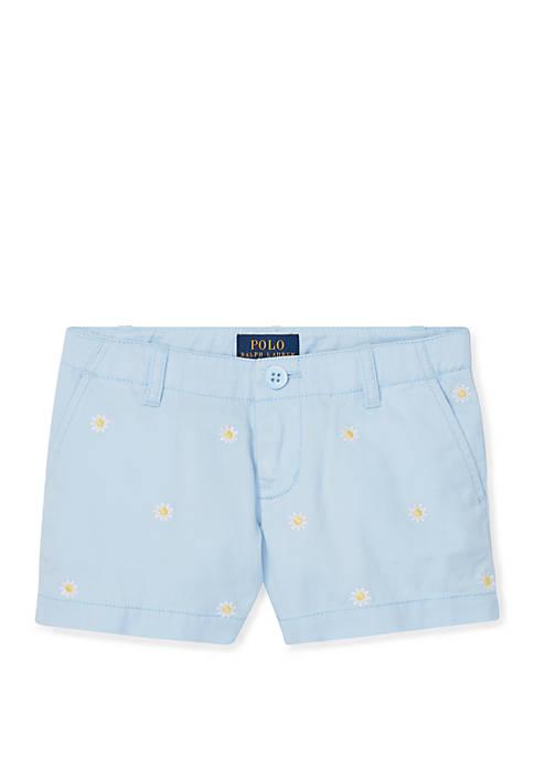 Ralph Lauren Childrenswear Toddler Girls Embroidered Chino Shorts