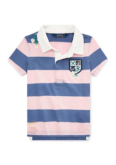Ralph Lauren Childrenswear Toddler Girls Embroidered Cotton Rugby
