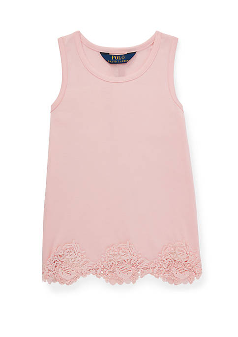 Ralph Lauren Childrenswear Toddler Girls Lace Trim Cotton