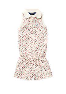 Ralph Lauren Childrenswear Toddler Girls Floral Mesh Polo Romper
