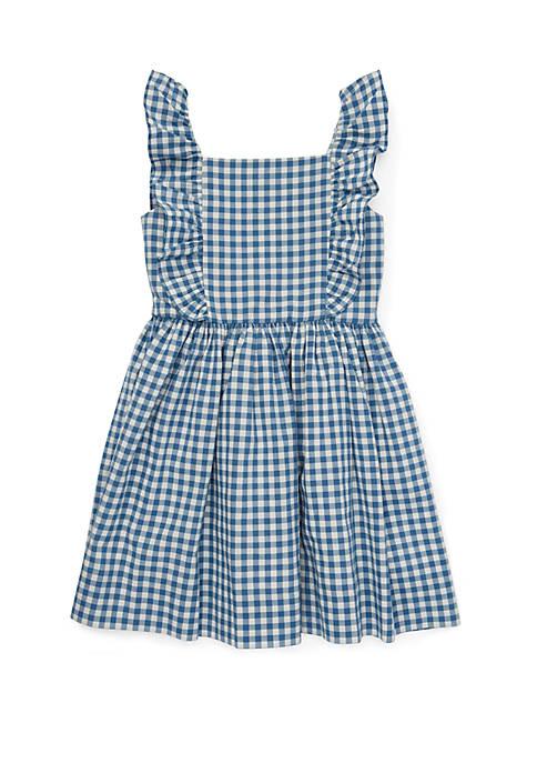 Ralph Lauren Childrenswear Toddler Girls Ruffled Gingham Cotton